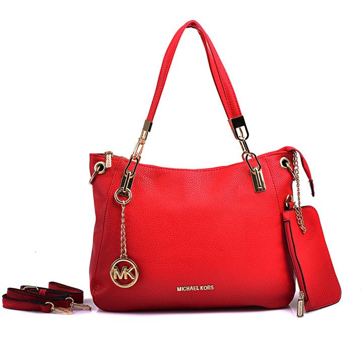 Michael Kors Shoulder Tote with Red Leather