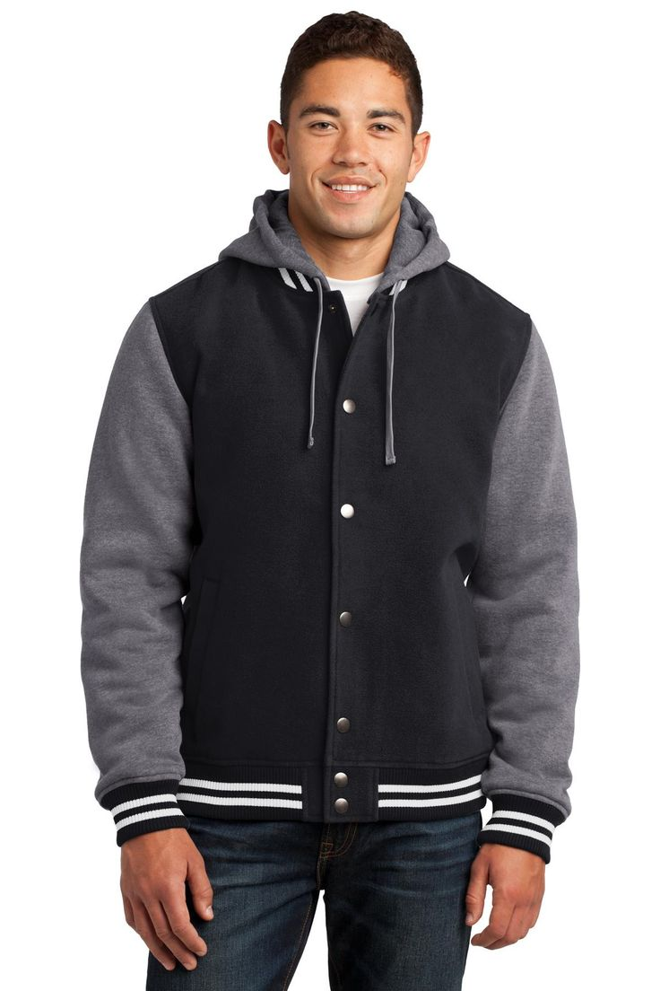Sport-Tek Insulated Letterman Jacket. JST82 Black/ Vintage Heather