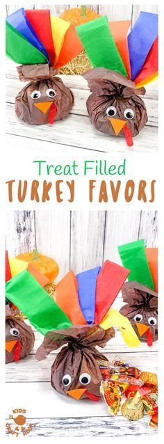 "CANDY-FILLED TURKEY FAVORS - stuff this cute turkey craft with everyone's favorite Fall candies and they'll be gobbled up before you can say ""Thanksgiving Treat""! Candy stuffed Turkey Favours are super simple and so much fun! Kids will love to make them and give them to their friends and they'll look adorable in everyone's place setting for Thanksgiving dinner.  #Thanksgiving #thanksgivingtreat #turkeycraft #fallcrafts #kidscrafts #thanksgivingcrafts #thanksgivingcraftsforkids via…"
