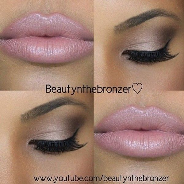 Bronze Smokey Eye Nude Lip Makeup Tutorial ❤ liked on Polyvore featuring beauty products, makeup, eyes, beauty, bronze makeup and nude cosmetics