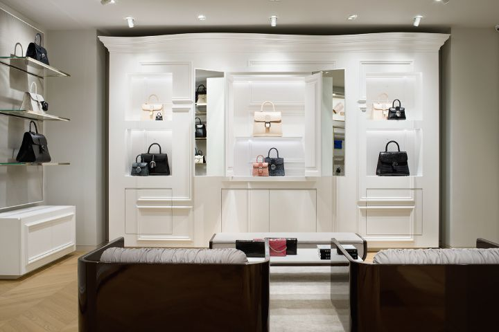 Inside the Delvaux boutique at the Galerie de la Reine in Brussels
