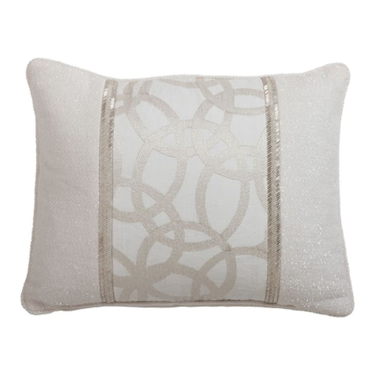 This linen-blend beauty has a discreet elegance. The pieced pillow front in subtle shades of ivory, silver, and champagne is adorned with a decorative panel and embellished with beaded tape and braide