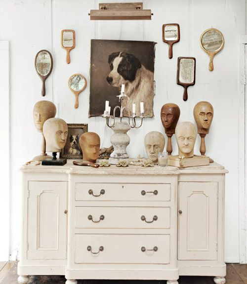 """Flank a portrait with hand mirrors to scale up the impact of both—creating a whole wall of """"art."""": Ideas, Display, Collection, Vignette, Dog Portraits, Antique, Wall"""