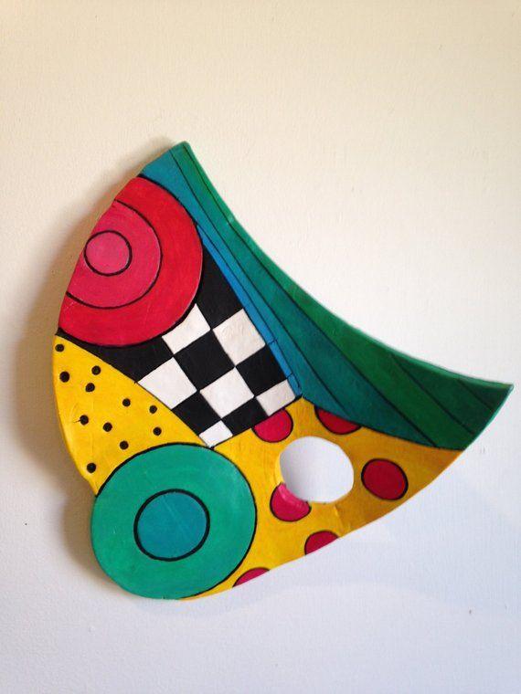 Ceramic Wall Art Colorful Geometric Design Small Sculpture