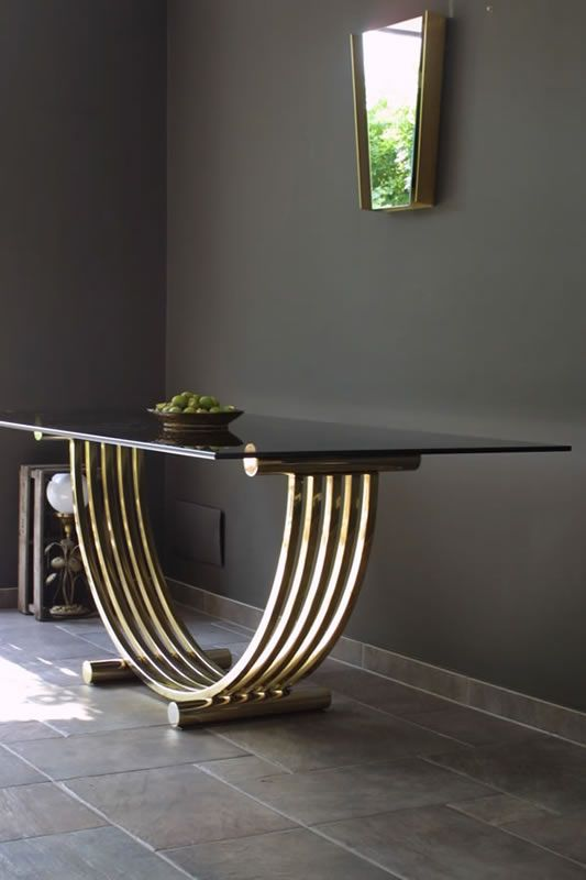 Brass Dining Table #luxury table #luxury furniture #dinning room #modern table…