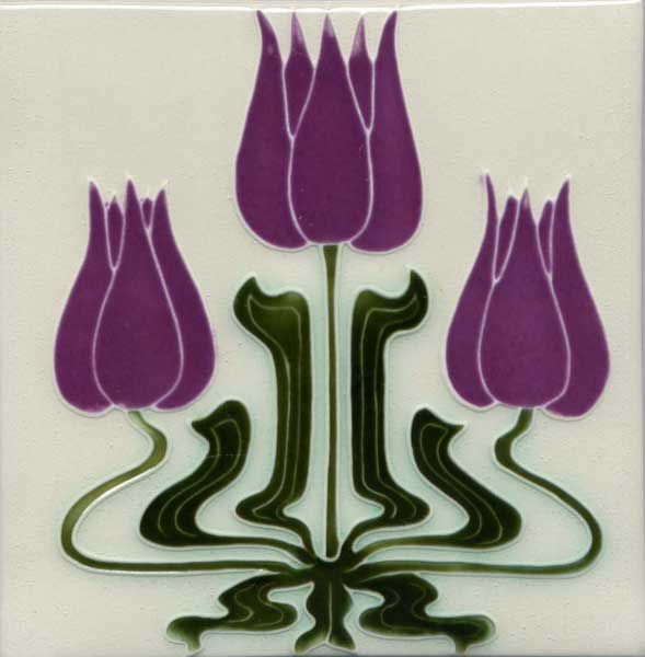 Art Nouveau-style tile, purple flowers, green stems, white background.