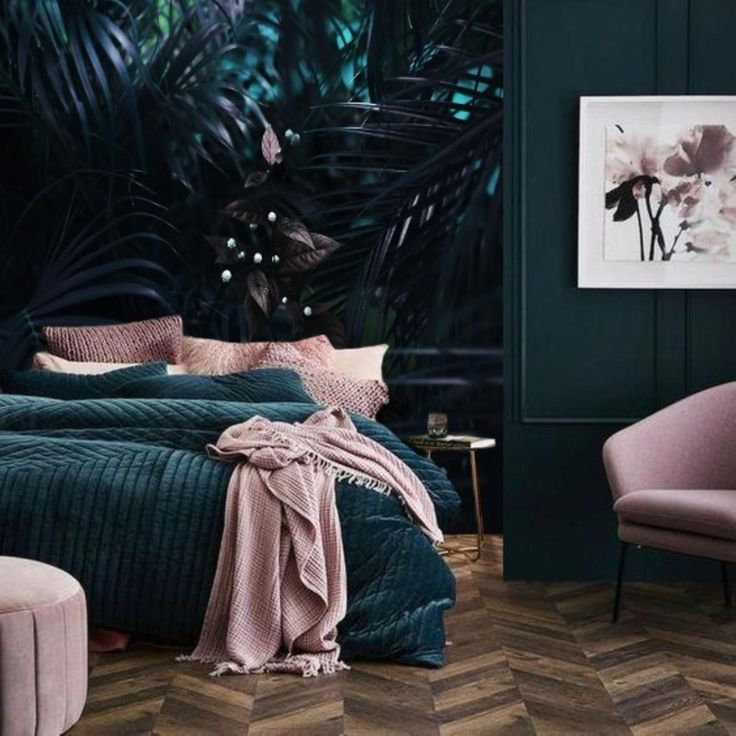 Purple Tropical Leaves Mural Wallpaper Dark Palm Leaf Removable Wallpaper Mural Jungle Remove Wall Paper Peel And Stick Floral Mural 172 Bedroom Interior Home Decor Bedroom Bedroom Makeover