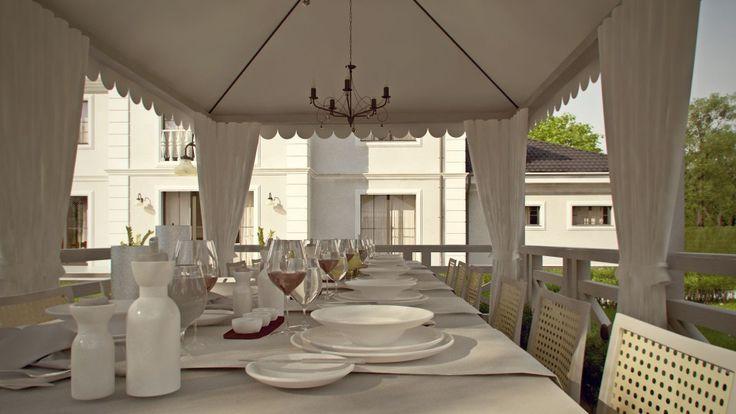 Doskonałym pomysłem na wspólny obiad i spotkanie z przyjaciółmi jest urządzona w ogrodzie letnia jadalnia. Projekt: Z500