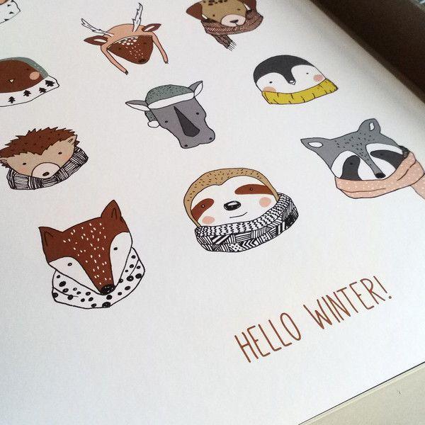 Illustrationen - Hello winter!   A3 Poster - ein Designerstück von everywhereyougo bei DaWanda