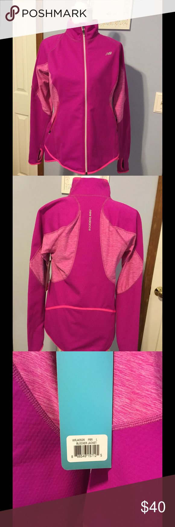 New Balance women's running jacket New Balance women's jacket in color magenta, great for runners, and has thumb holes in the sleeves. I believe this was called the Windblocker jacket. Never worn, tags still attached. Women's size Large.  New Balance Jackets & Coats