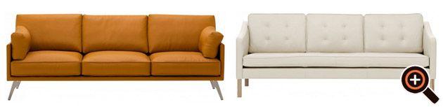 Designer Couch – modernes Sofa fürs Wohnzimmer aus Leder in weiß, braun & schwarz