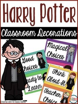 Hi teacher friends,Included in this pack are items to decorate your classroom with a Harry Potter theme in mind.Harry Potter behavior chart (1/2 page for each section of chart)Harry Potter classroom economy banker binder cover pagesHarry Potter student name tags for desksHarry Potter book quote postersHogwarts Acceptance LetterHogwarts School Supplies listHarry Potter Food Labels Harry Potter classroom jobs: Teacher's HelperBankersWeather ReportersPencil SharpenersMorning…