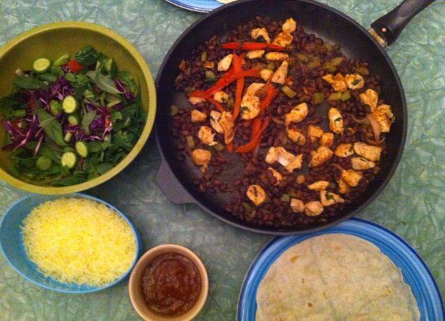 Chicken & black bean buritos