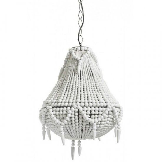 White Beaded Chandelier  This large white chandelier is absolutely stunning. It is made of hundreds of chunky wooden beads. The ethnic shape and the use of natural materials make this a true eye-catcher.     Dimensions: H59 x W46cm  Material: white/off white wooden beads