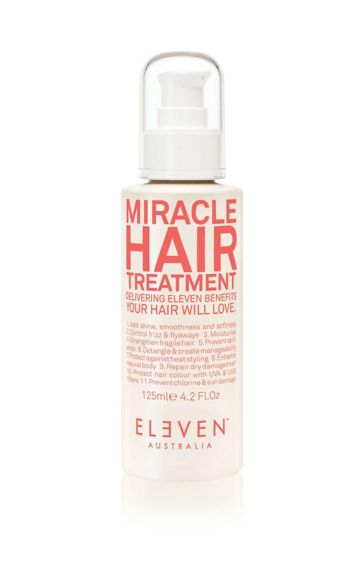 Hår pleje produktet Eleven Australia Miracle Hair treatment med 11 fordele som plejer og beskytter dit hår. Varme, Klor og UV - beskyttelse
