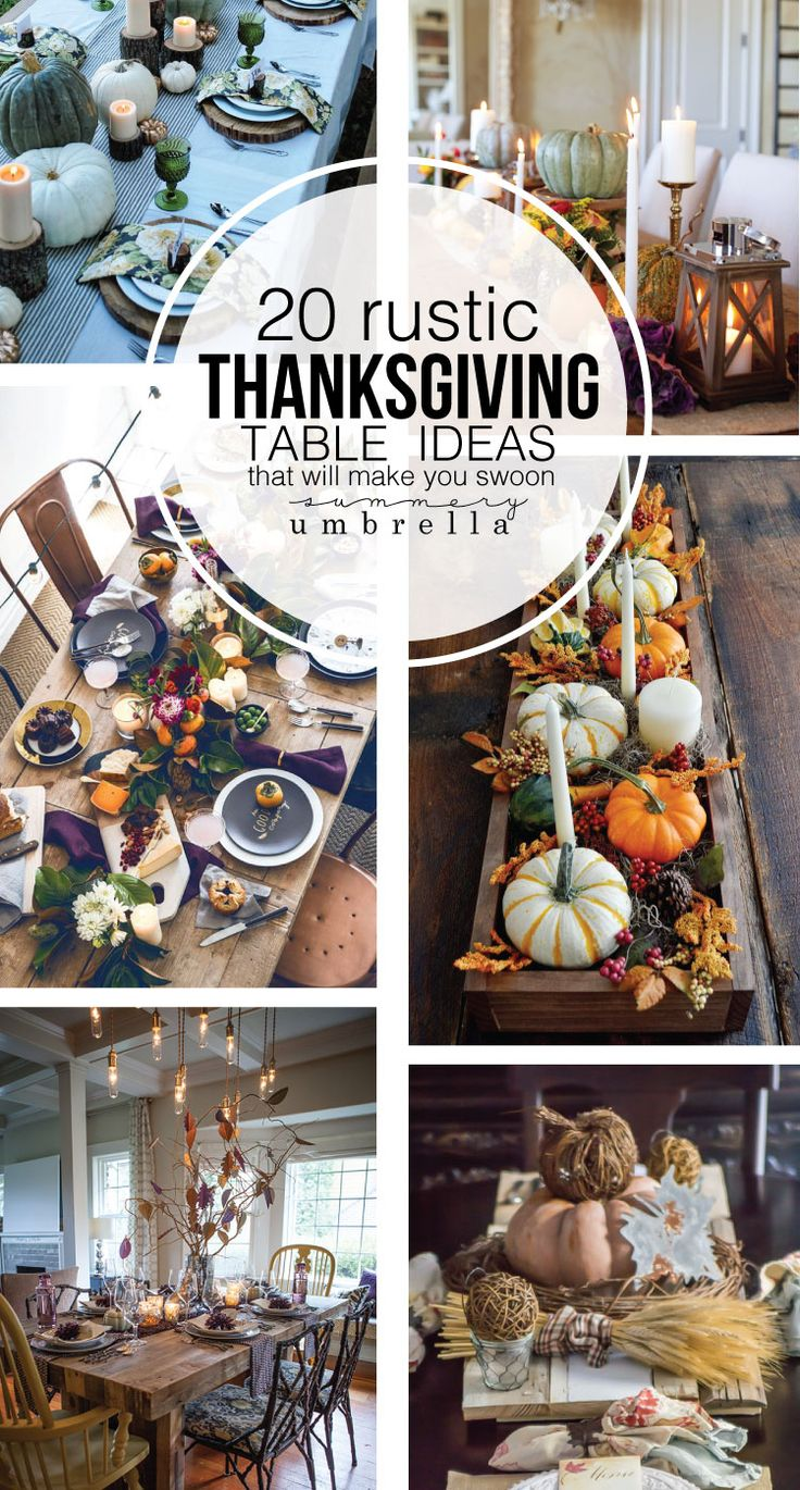 Looking for table decor inspiration for your Thanksgiving gathering? Then check out these 20 Rustic Thanksgiving Table Ideas that will make you swoon! https://thesummeryumbrella.com/20-rustic-thanksgiving-table-ideas/