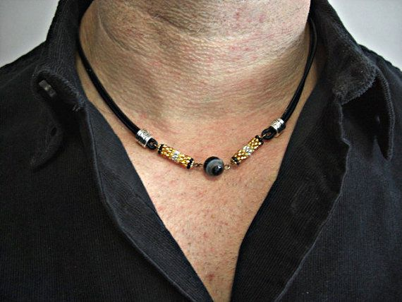 Faceted Black Lace Agate, Beaded Tubes,Silver Tubes Black Leather Double Strands Men's Necklace, Unisex Necklace, For Men and Women
