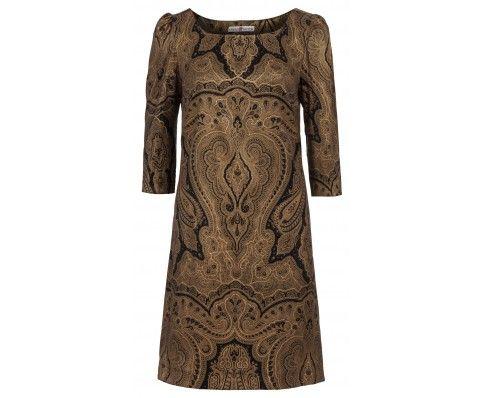 Dressfactor A-lijn jurk zijde goud zwart brokaat