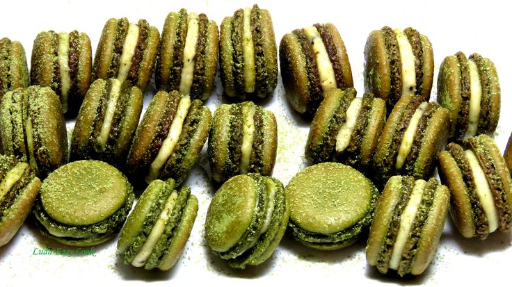 Французкое пирожное Макарон печенье Макарун с зеленым чаем французский м...