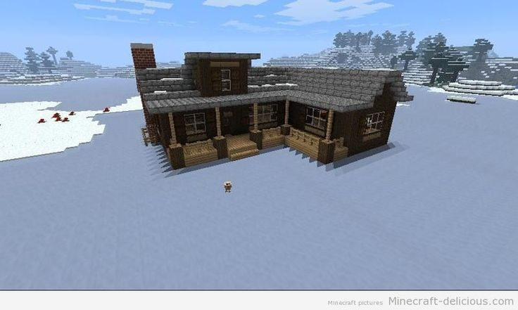 Minecraft log cabin - i don't think i would build it on ice though. Maybe in a snow biome forest?
