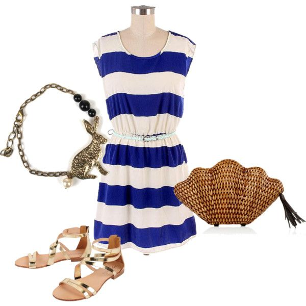 Summer on the Riviera outfit inspiration feat. the 'Summer on the Riviera' Striped Dress (http://www.jijikiki.com/products/summer-on-the-rivieria-striped-dress) #polyvore #ootd #summer #chic #simple #summery