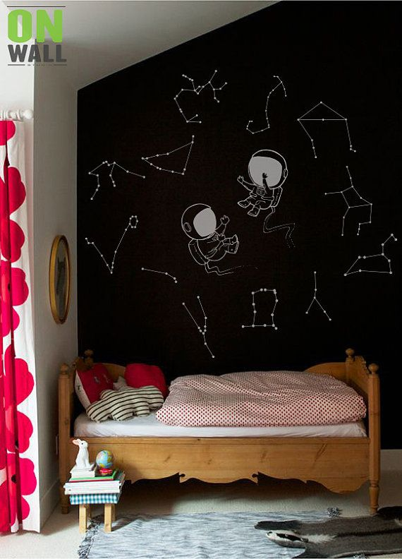 Two astronauts with constellations,  Wall Star Decals Decal Nursery Wall Decals, Constellation mural - L005