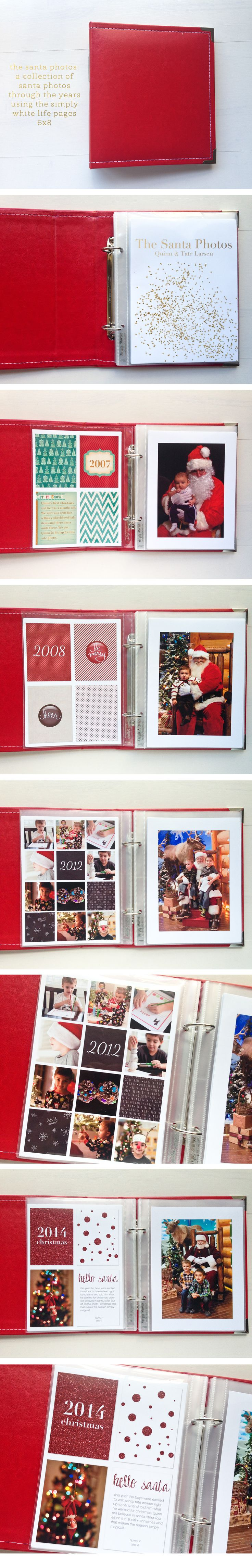 The Santa Photos album made with the Simply White Life Pages 6x8 digital page templates | page layout ideas + inspiration for digital project life, modern memory keeping, pocket scrapbooking, December Daily ideas ==> hellotracylarsen.com