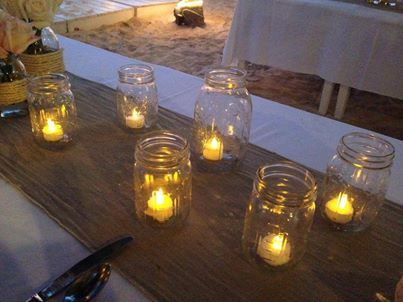 CBV109 Riviera Maya weddings / Bodas Mason Jar with led candle- vela