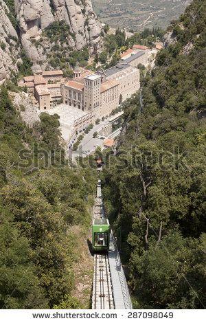 MONTSERRAT, BARCELONA, SPAIN - JULY 15, 2013: Funicular de Sant Jovan. Monestir Santa Maria de Montserrat