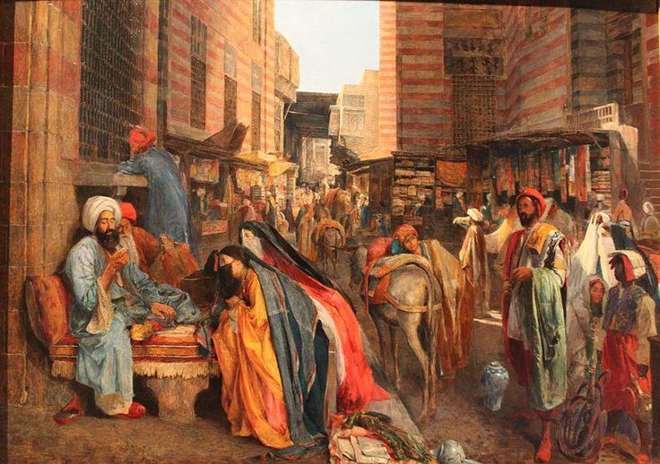 John Frederick Lewis The street and Masjid al Ghouri in Cairo