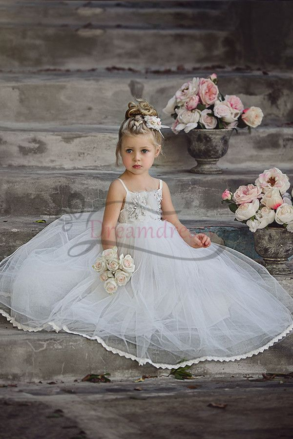 8dc94675e3e Cute Spaghetti strap Ball Gown Flower Girl Dress with Applique in 2018