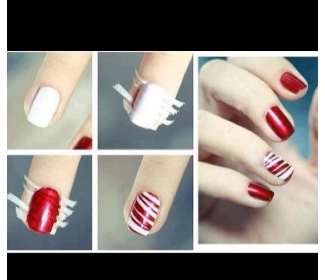 An easy way to do a cute nail design :) Just add very thin strips of tape and paint over it to make cute stripes.