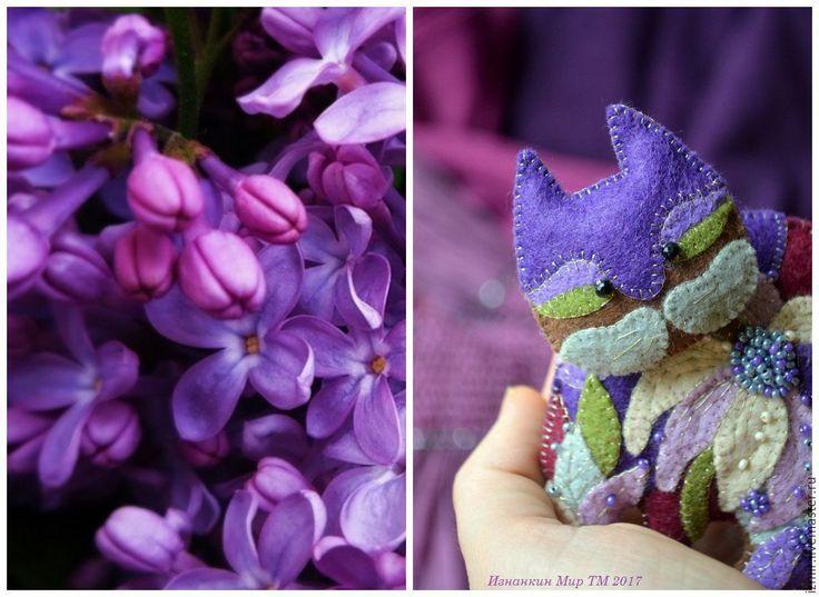 Купить Украшение Женщине в День рождения Поздравление Брошь Котик Лорел Берч - фиолетовый