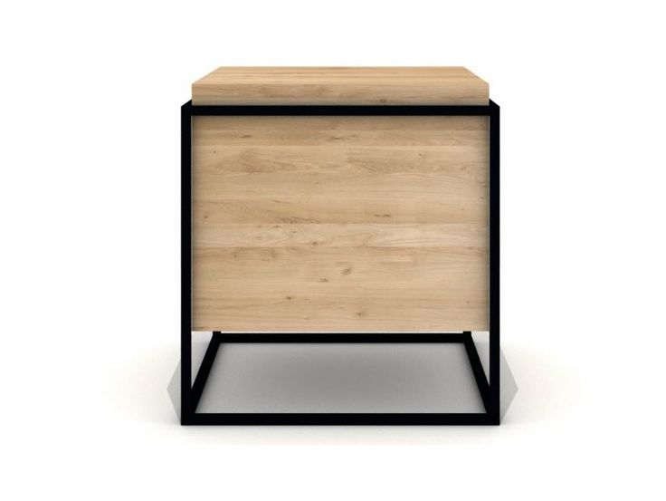 Square Steel And Wood Side Table MONOLIT By Universo Positivo