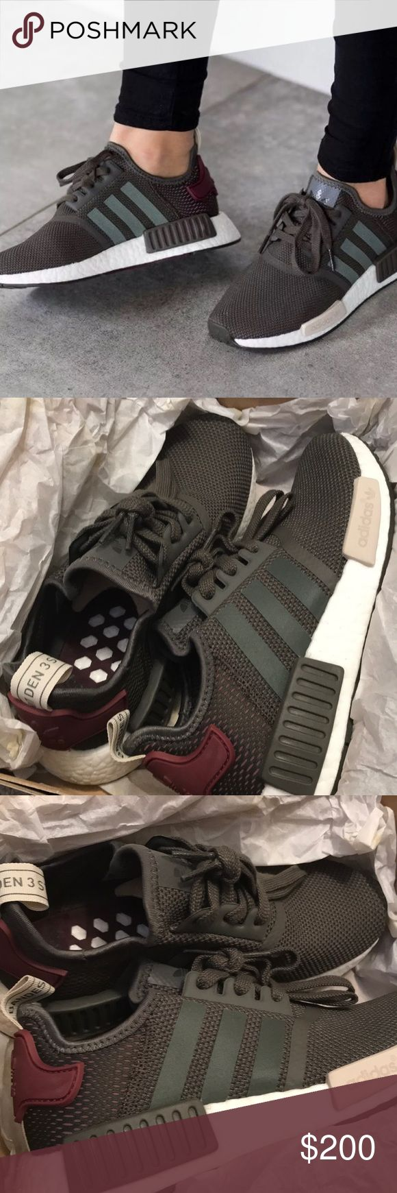 • size 6 • New  adidas NMD R1 W Utility green • New with box 100% authentic    Size 6  NMD R1 W Utility green and burgundy Price firm , color sold out  Lowballs will be blocked, thank you! •   •• no trades •• adidas Shoes Athletic Shoes