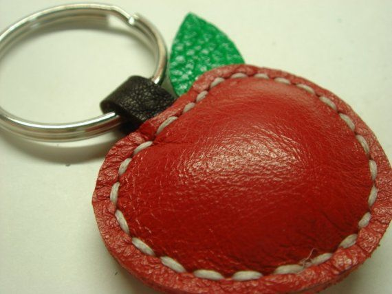 Lovely Apple Leather Keychain  Red  by leatherprince