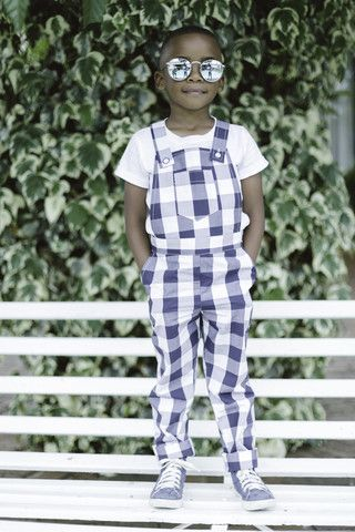 Blue Gingham Dungarees