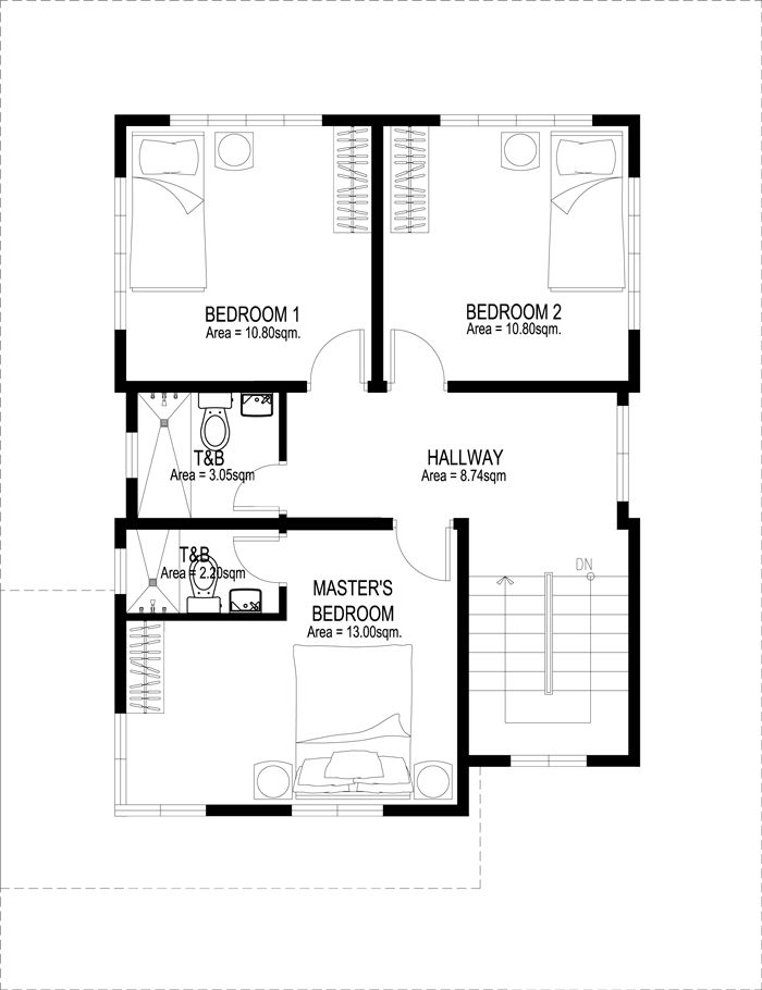 Two Story House Plans Php2014007 Second Floor Plan Floor Plan Design House Plans Two Story House Plans