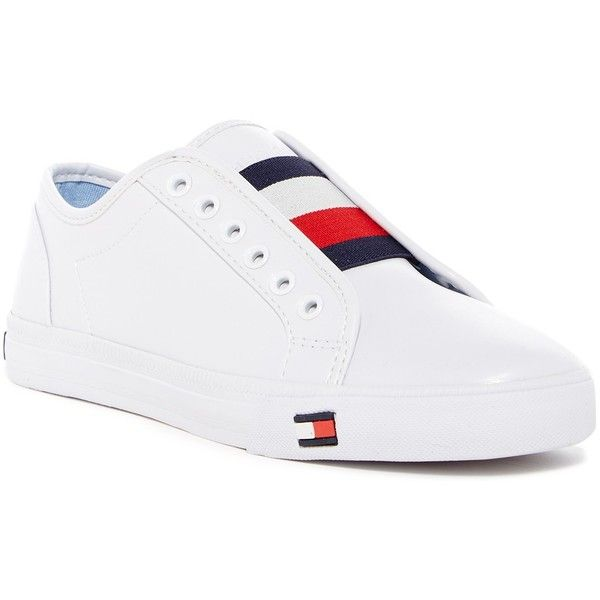 Tommy Hilfiger Anni Sneaker ($40) ❤ liked on Polyvore featuring shoes, sneakers, white, tommy hilfiger sneakers, slip-on shoes, lace shoes, elastic lace sneakers and white lace shoes
