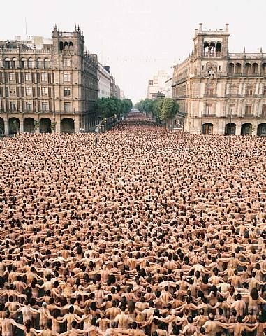 Mexico City 5 – Zócalo, MUCA/UNAM, 2007; documented by a C-print mounted between plexi; h: 37.5 x w: 30 in; Edition: 20. 	© Spencer Tunick