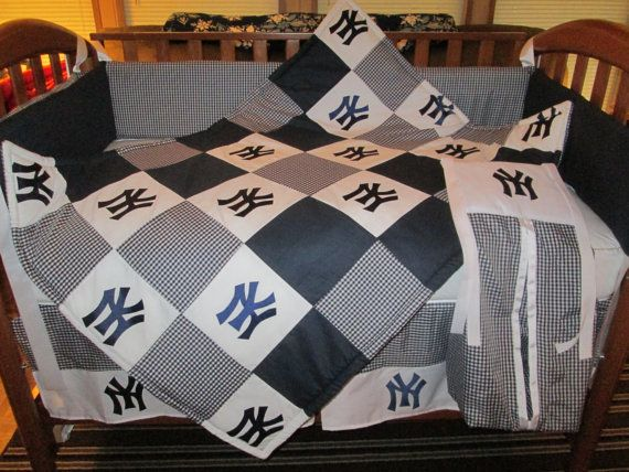 Hey, I found this really awesome Etsy listing at http://www.etsy.com/listing/152759916/new-york-yankees-5-piece-crib-bedding