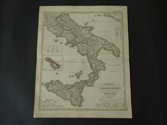 ITALY SICILY map 1859 antique hand-colored old by DecorativePrints