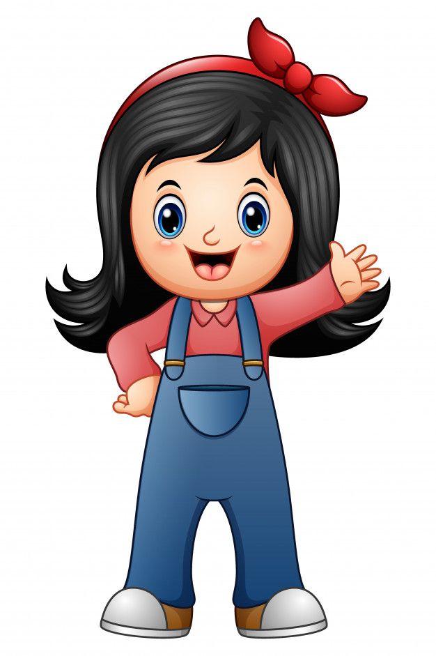 Menina De Macacao Azul Em 2020 Desenhos Animados Bonitinhos Cartoon Cartoon Desenho De Crianca