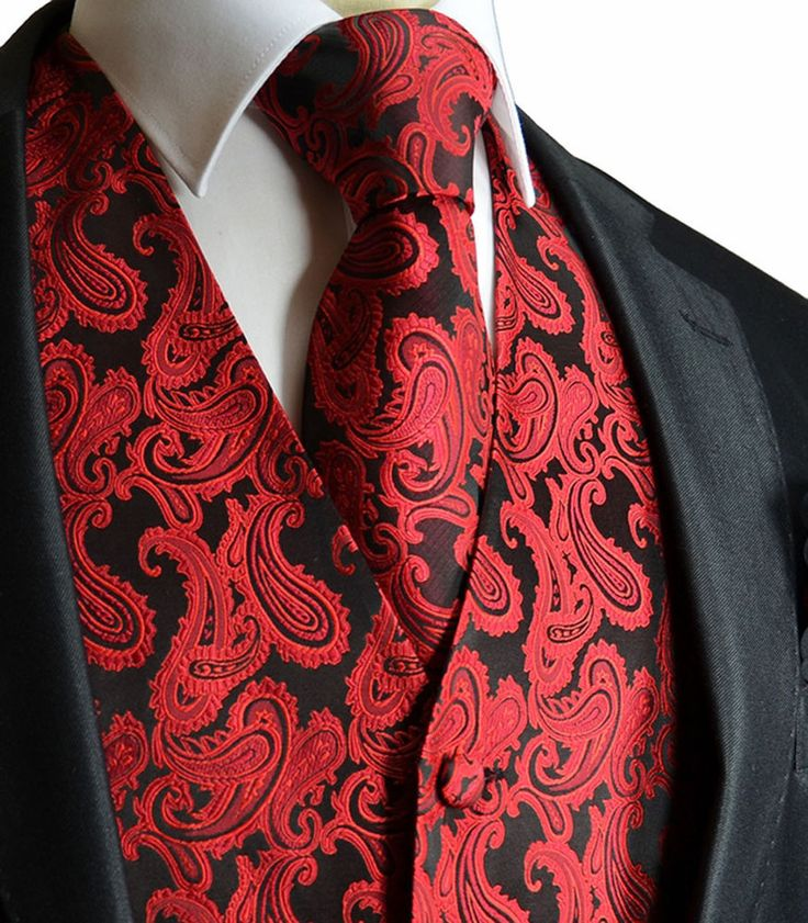 BLACK / RED New Men's Paisley Tuxedo Dress Vest Waistcoat & Neck tie wedding 20K in Clothing, Shoes & Accessories, Men's Clothing, Vests | eBay