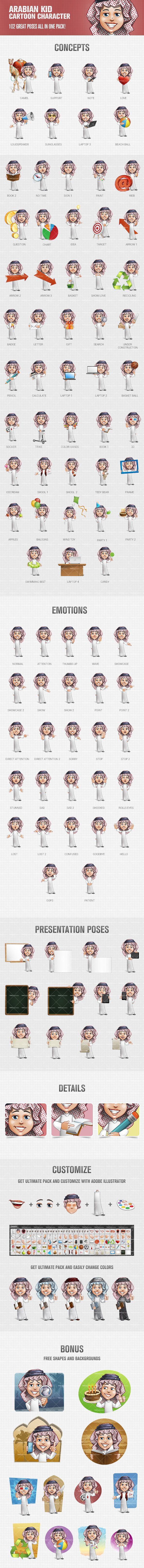 Arabian kid cartoon character pack made in 92 different poses and moods. Use this delightful toon in any of your projects. We guarantee it will make a good and lasting impression on people. Continue reading →