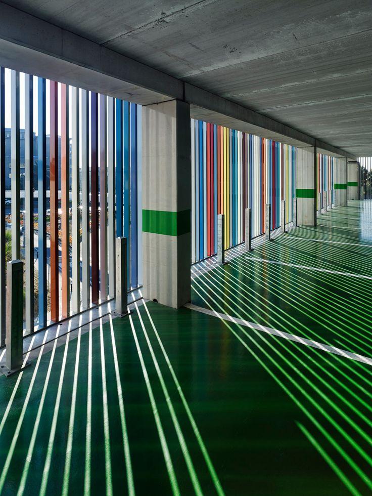 Coloured Metal Slats Enclose Hospital Car Park