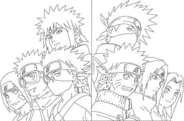 Naruto Team Coloring Pages In 2020 Naruto Painting Naruto Sketch Naruto Art