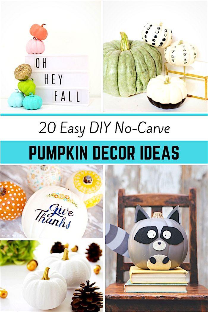 20 easy DIY no carve pumpkin ideas. #pumpkins #fallpumpkins