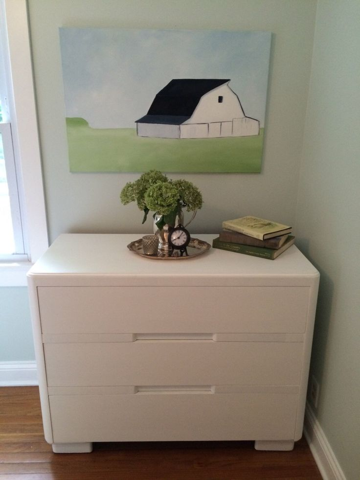 Vintage White Chalk Painted Three Drawer Dresser Baby Changing Table Art Deco Style Mid Century Furniture Farmhous Decor Cottage Style by CottageBlu on Etsy