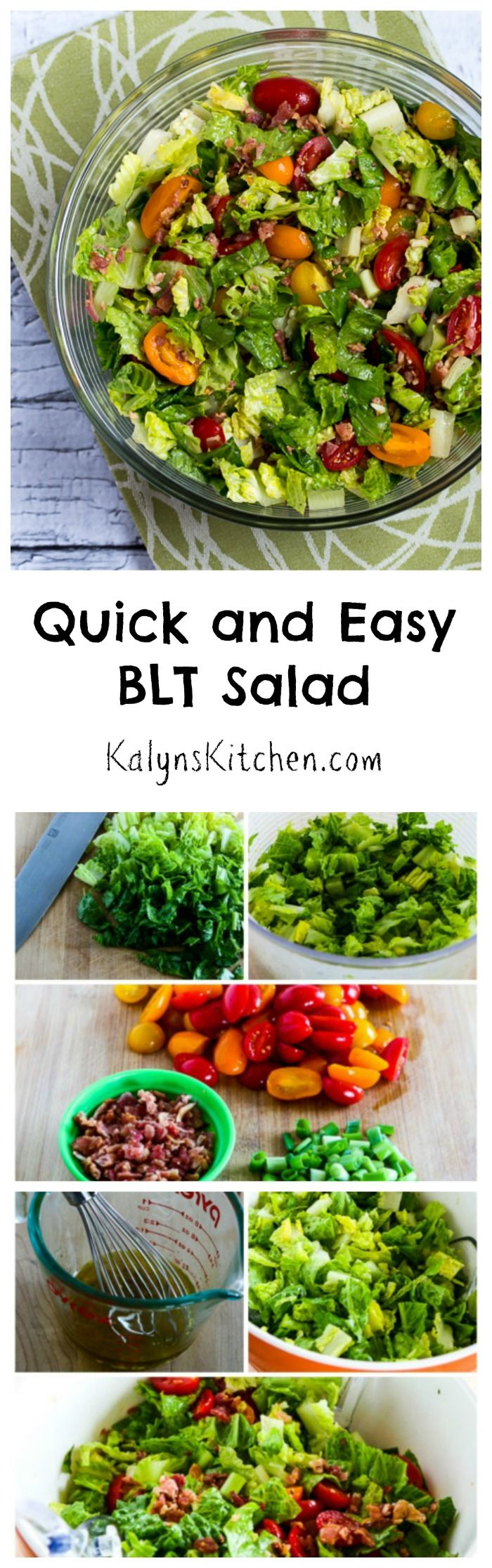 This Quick and Easy BLT Salad will be extra good if you have fresh garden tomatoes, and this salad is #LowCarb, #GlutenFree, and #Paleo. [from KalynsKitchen.com]